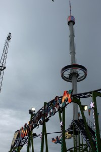The darkening skies over the fair.
