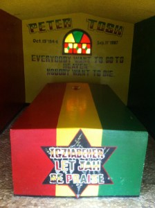 Peter Tosh's tomb. Steve gave the guide $1000 Jamaican to help build a proper museum.  However, Steve suspected the guy was going to spend it on ganja.
