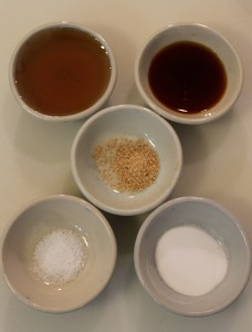 From top left: Maple Syrup, Vanilla Extract, Nutmeg (c), Baking Soda, Salt