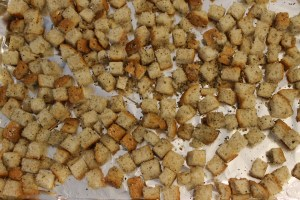 Croutons ready for the oven.