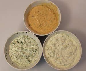 Uniquely American. From top clockwise: Thousand Island, Blue Cheese, Ranch