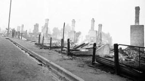Homes on Forest Rd in West Hobart after the Tasmanian Bushfires of 1967