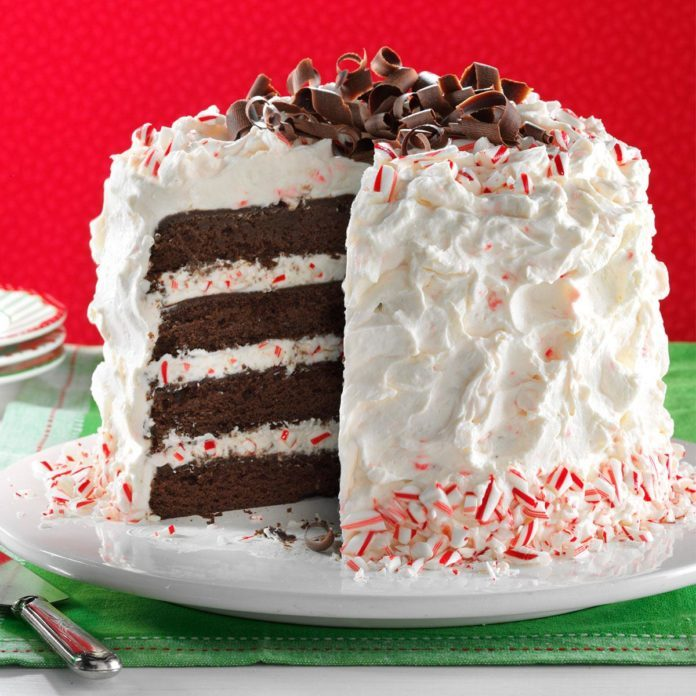 34 Easy Cake Decorating Ideas to Wow Your Friends and Family   Taste     Fudgy Peppermint Stick Torte