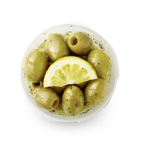 Green pitted Olives Lemon Herbs
