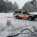 Paramedics out in the snow near  Batlow this afternoon.