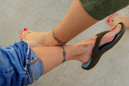 funny ankle tattoo design