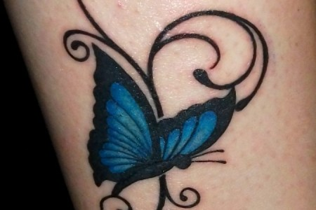 a blue erfly tattoo 2