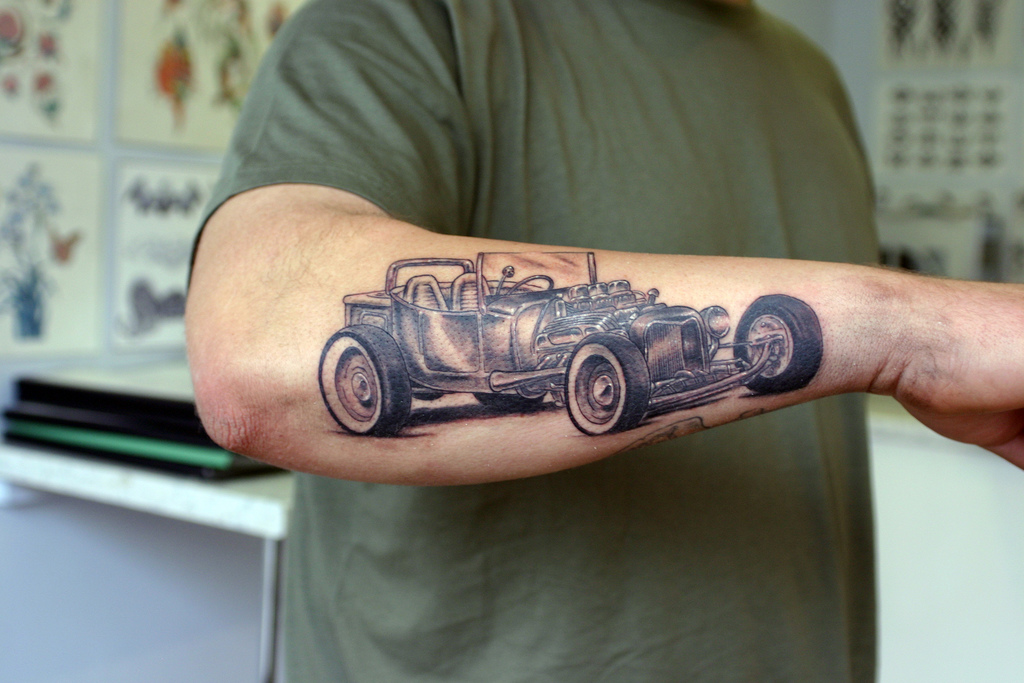 Car Tattoo On Forearm of 1 by Patrick