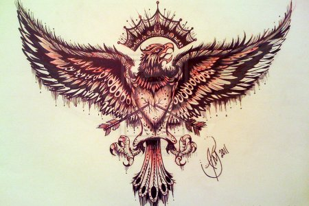 arrow heart eagle tattoo design