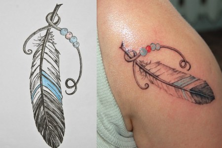 colorful feather tattoo design 2
