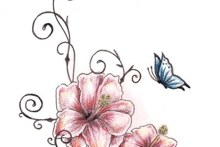 erfly n hibiscus flowers tattoo design