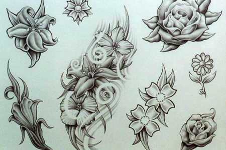 few flowers tattoo designs