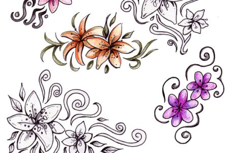 flowers tattoo design on white background