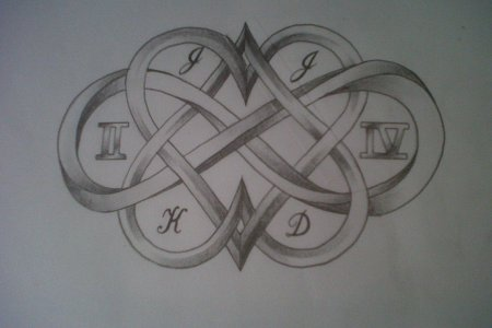 hearts and infinity sign tattoo design