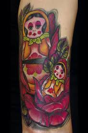 Matryoshka Dolls Tattoo Designs Over White Background of 4 by Michelle