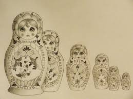 Matryoshka Dolls Tattoo Designs Over White Background of 5 by Michelle