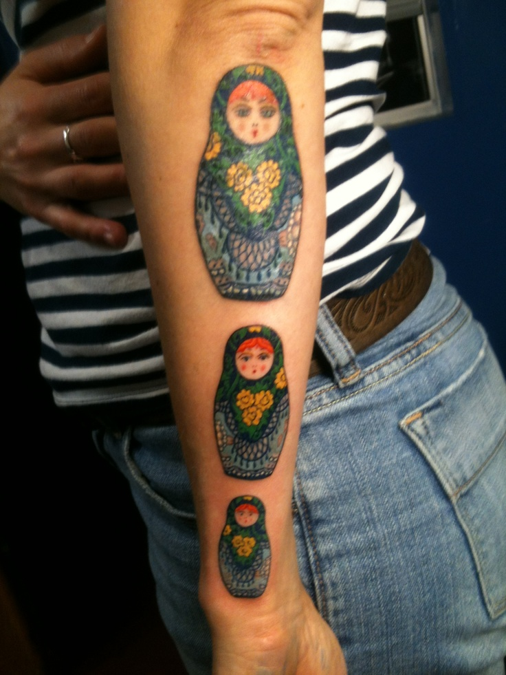 Matryoshka Dolls Tattoo Designs Over White Background of 20 by Michelle