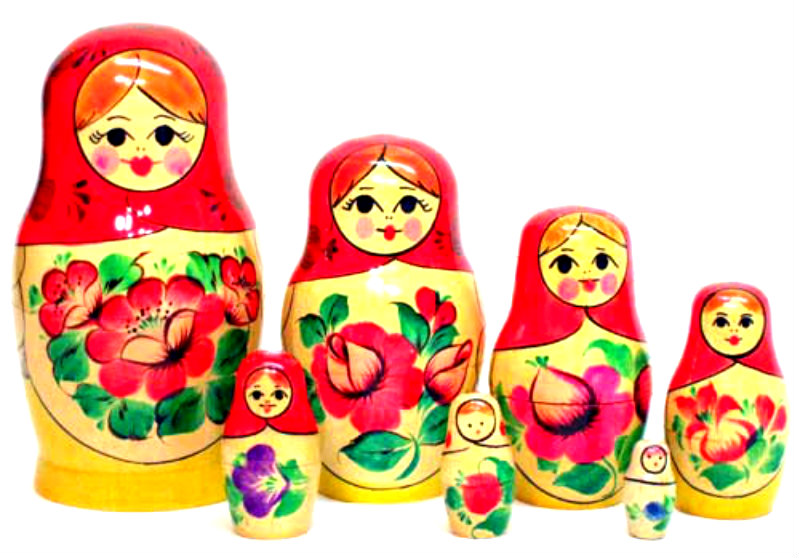 Matryoshka Dolls Tattoo Designs Over White Background of 13 by Michelle