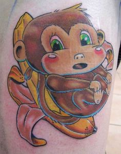 Crazy Monkey With Banana Tattoo Design of 29 - 2019 Tattoos Ideas