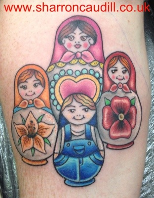Matryoshka Dolls Tattoo Designs Over White Background of 15 by Michelle