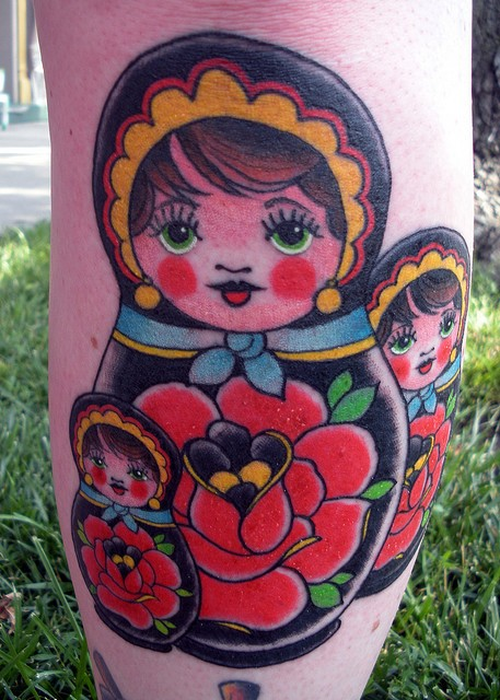 Matryoshka Dolls Tattoo Designs Over White Background of 37 by Michelle