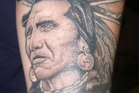 native indian tattoo on forearm