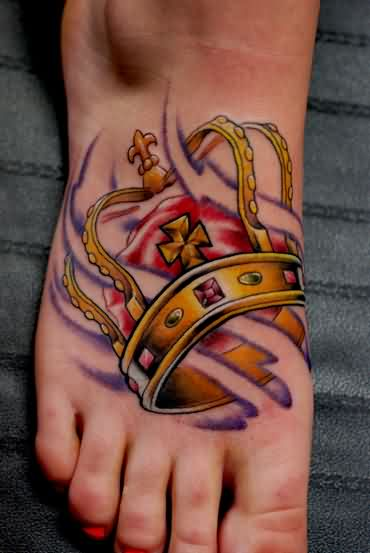 Small Crown Tattoo On Foot For Girls of 3 by Cody