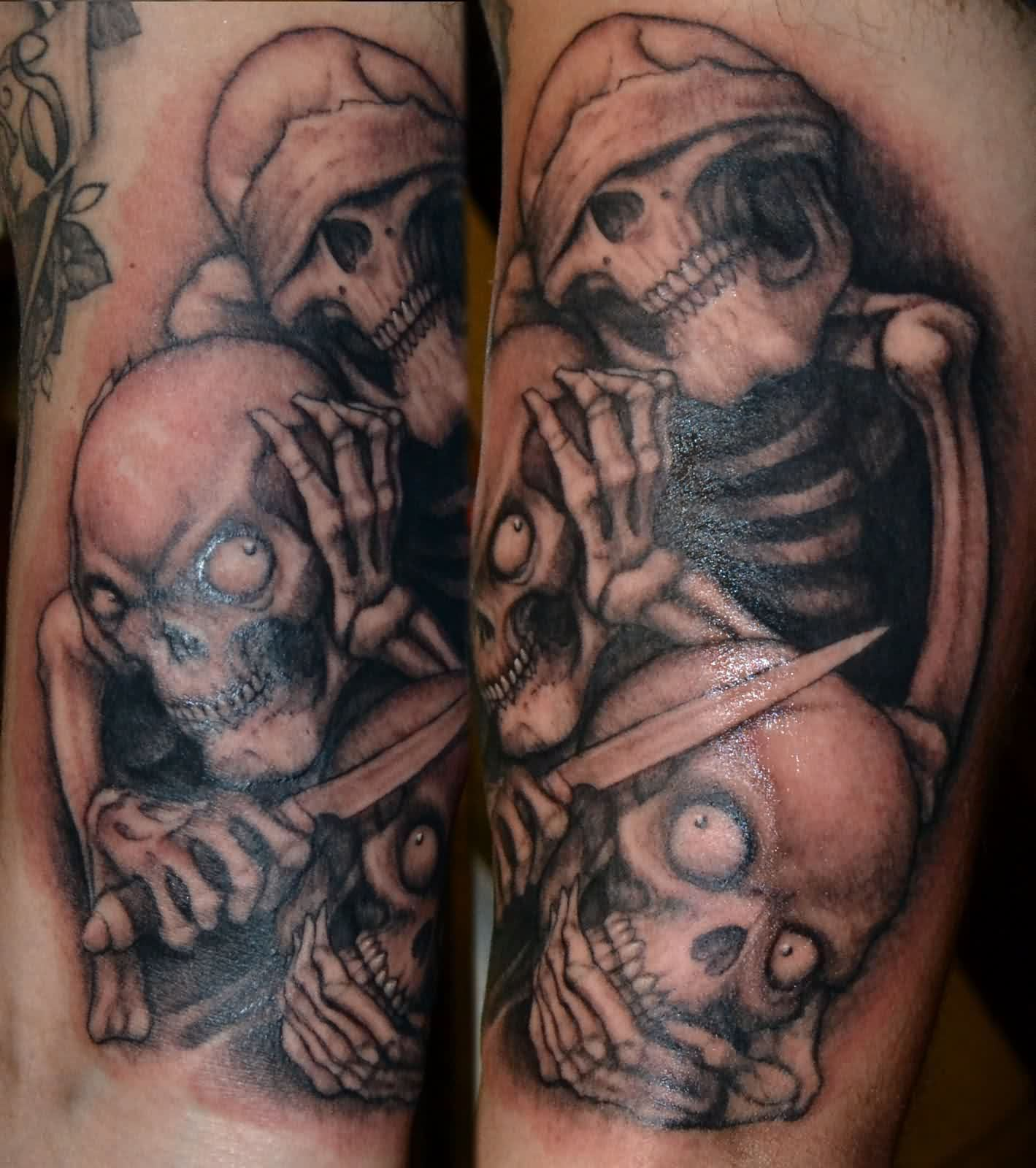 See No Evil Hear No Evil Speak No Evil Skull Tattoo Designs of 10 by Mike