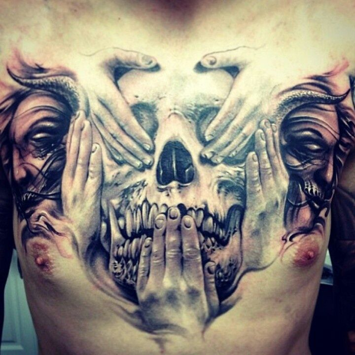 See No Evil Hear No Evil Speak No Evil Skull Tattoo Designs of 3 by Mike