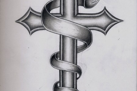 black ink holy cross with banner tattoo design