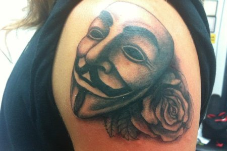 mask tattoo on arm