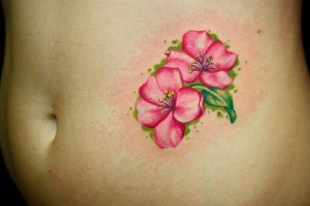 lily flower tattoo on stomach td1217