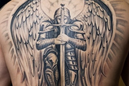 angel and sword tattoo on back td20