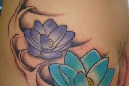 anese lotus flower tattoo hip