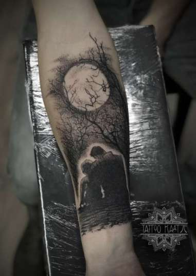 moon - father son - tattoo - tree