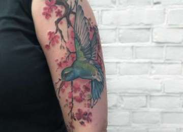hummingbird - tattoo - kolibri - bird - cherryblossom - colour