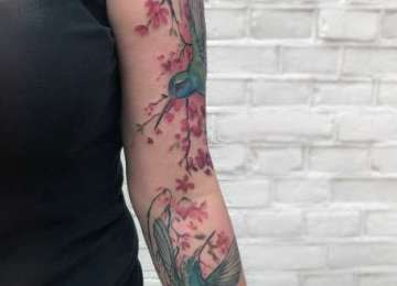 hummingbird - tattoo - kolibri - bird - cherryblossom - colour2