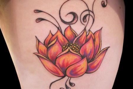 orange lotus flower tattoo designs