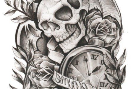 clock and skull tattoo design tb12039