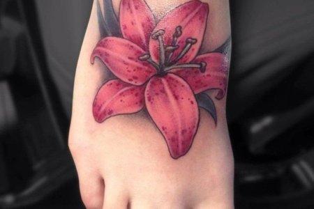 lily tattoo design on foot tb12094