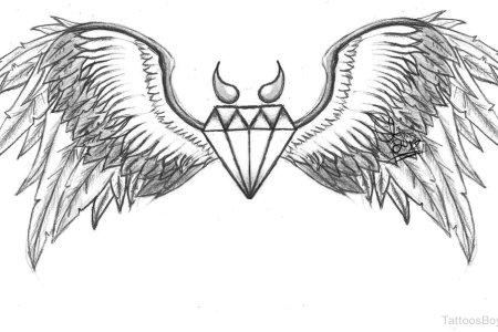 wings and diamond tattoo design tb1147