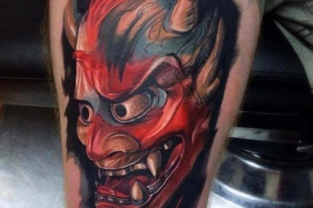demon tattoo on thigh tb1032