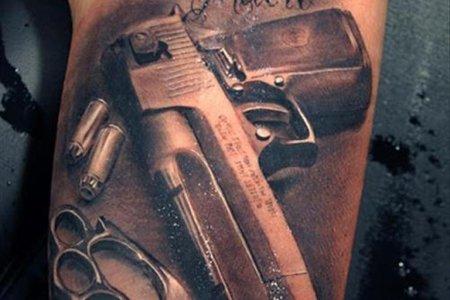 fantastic gun tattoo design tb1032