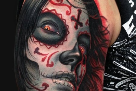 horror tattoo design on bicep tb1049