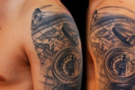 map and comp tattoo on shoulder tb1065