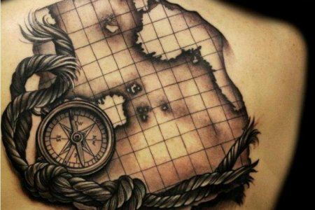 map tattoo design on back tb1077