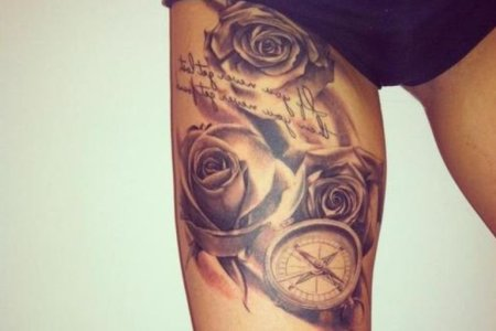 rose and comp tattoon thigh tb12128