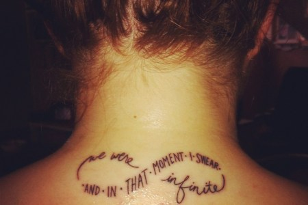 infinity tattoo with words