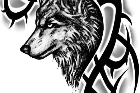 tribal wolf tattoo1