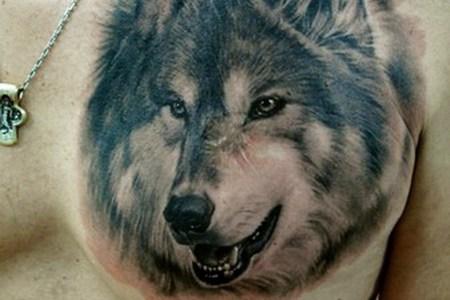wolf chest tattoo